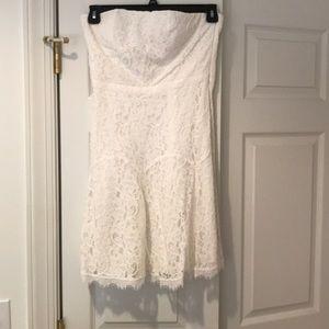 DVF ladies white lace strapless dress size 8